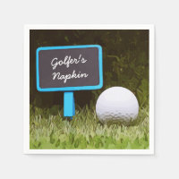 Golfer Napkin's with golf ball on green grass Napkins