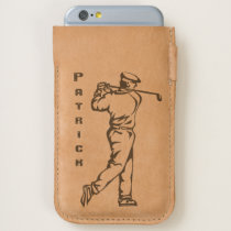Golfer on Leather iPhone 6/6S Case