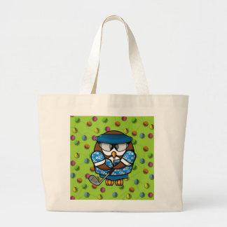golfer owl canvas bags