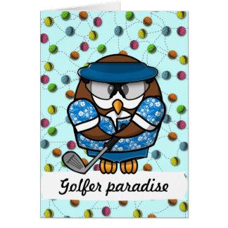 golfer owl greeting cards