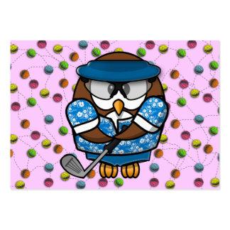 golfer owl large business card