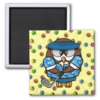 golfer owl fridge magnet