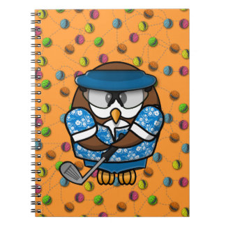 golfer owl spiral note book