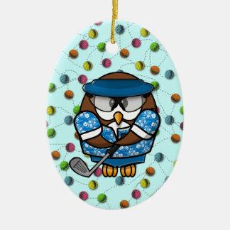 golfer owl christmas ornament