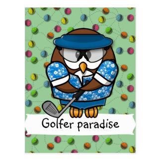 golfer owl post card