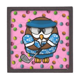 golfer owl premium trinket box