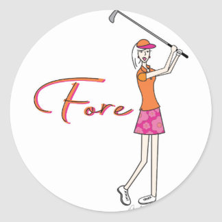 Golfer_Palm Beach Lady Collection Classic Round Sticker