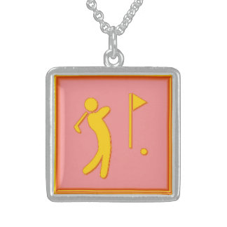 Golfer - PinkBkg Square Pendant Necklace