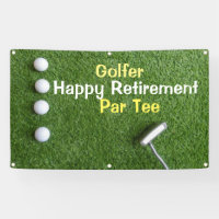 Golfer Retirement Party with golf balls on green Banner