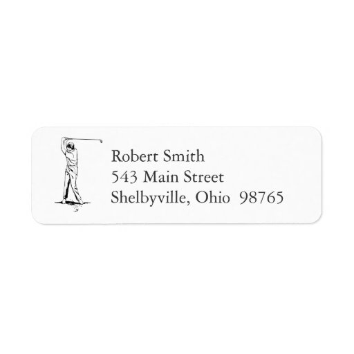 Golfer Return Address Labels