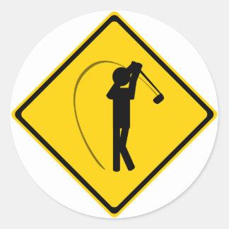 Golfer Road Sign Classic Round Sticker