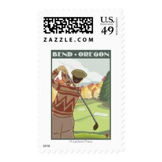Golfer Scene - Bend, Oregon Postage Stamp