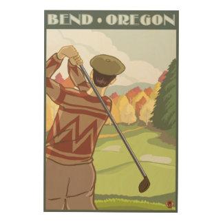 Golfer Scene - Bend, Oregon Wood Canvas