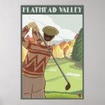 Golfer Scene - Flathead lake, Montana Poster