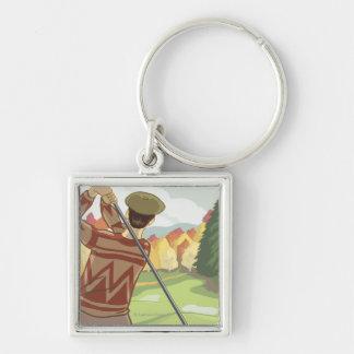 Golfer Scene - Flathead lake, Montana Silver-Colored Square Keychain