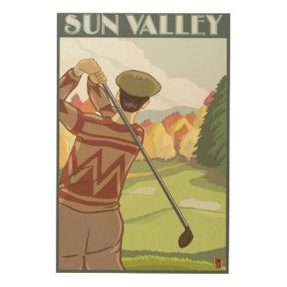 Golfer Scene - Sun Valley, Idaho Wood Wall Art