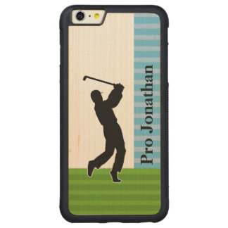 """Golfer Silhouette """"Add Your Name"""" Carved Maple iPhone 6 Plus Bumper Case"""