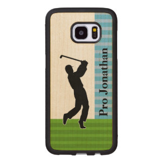 "Golfer Silhouette ""Add Your Name"" Wood Samsung Galaxy S7 Edge Case"
