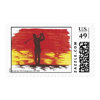 Golfer Silhouette Stamp