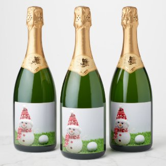 Golfer Snowman with golf ball on Christmas Holiday Champagne Label