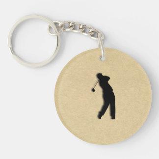 Golfer Sport Design Leather Look Keychain