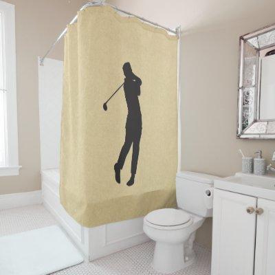 Golfer Sport Design Shower Curtain Leather Look