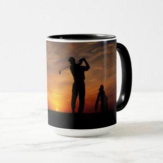 Golfer Sunset custom monogram mugs