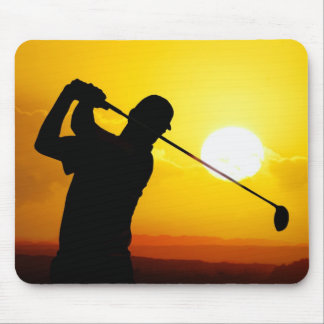 golfer sunset mouse pad