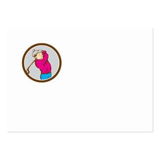 Golfer Swinging Club Circle Cartoon Business Card Template