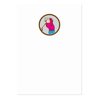 Golfer Swinging Club Circle Cartoon Business Cards
