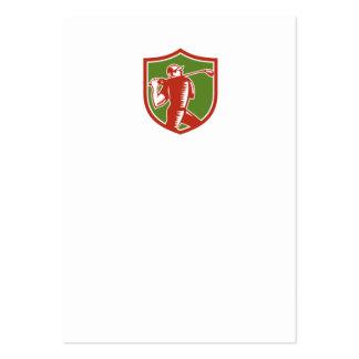 Golfer Swinging Club Shield Woodcut Business Cards