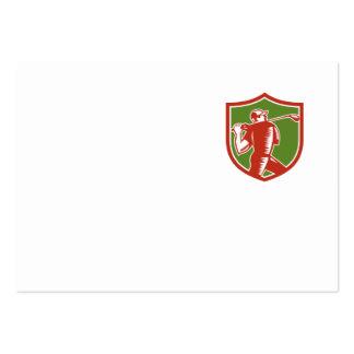 Golfer Swinging Club Shield Woodcut Business Card Template