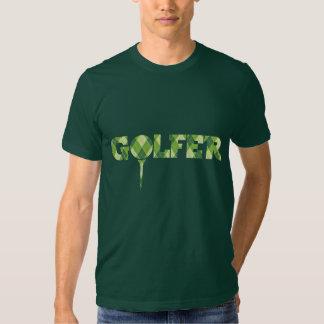 Golfer tee argyle patterned green t-shirt
