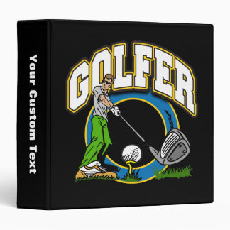 Golfer Tee Off 3 Ring Binder