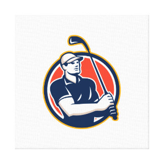 Golfer Tee Off Golf Circle Retro Stretched Canvas Prints
