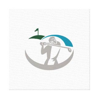 Golfer Tee Off Golf Retro Stretched Canvas Prints