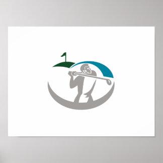Golfer Tee Off Golf Retro Posters