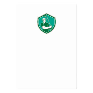 Golfer Tee Off Golf Shield Retro Business Card Templates