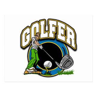Golfer Tee Off Postcard