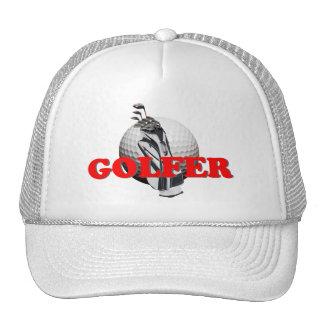 Golfer White Baseball Cap Mesh Hat