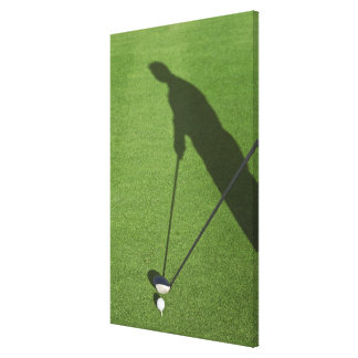 Golfer with driver prepares for swing canvas print
