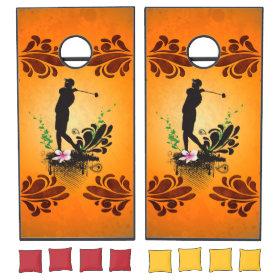 Golfer with floral elments cornhole sets