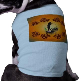 Golfer with floral elments dog t-shirt