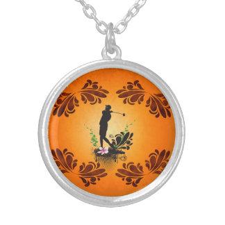 Golfer with floral elments round pendant necklace