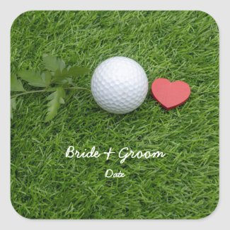 Golfer with golf ball on green grass with love square sticker