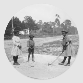 Golferinos African American Children Golf c1905 Classic Round Sticker