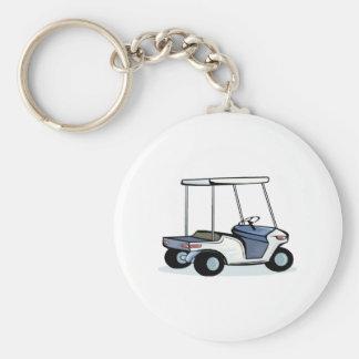 Golfers cart basic round button keychain