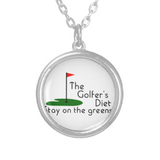 Golfers Diet Round Pendant Necklace