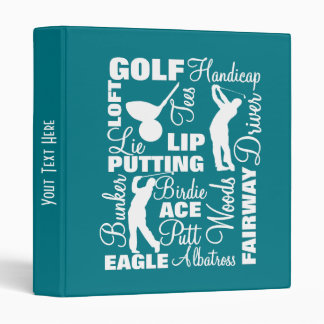 Golfers Golf Terminology Text Graphic Binder