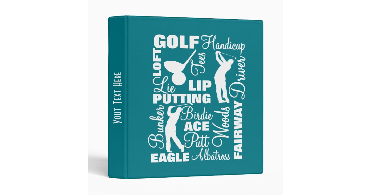 Golfers Golf Terminology Text Graphic Binder | Zazzle com